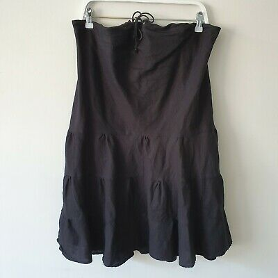 Additions Black Linen Cotton Tiered A-Line Maternity Skirt 12 M Drawstring Boho