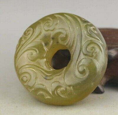 Chinese old natural jade hand-carved statue flower pendant 1.9 inch