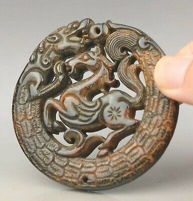 Chinese old natural jade hand-carved statue dragon horse pendant 2.7 inch