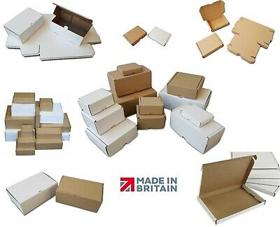 White or Brown Shipping Cardboard Boxes Postal Mailing Packet Small Parcel PIP