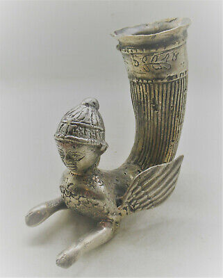 Scarce Circa 400Bce Ancient Persian Silvered Winged Rhyton Vessel Superb