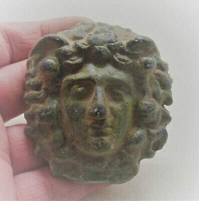 Circa 300-400Ad Roman Bronze Chariot Fitting Face Of Medusa Very Rare