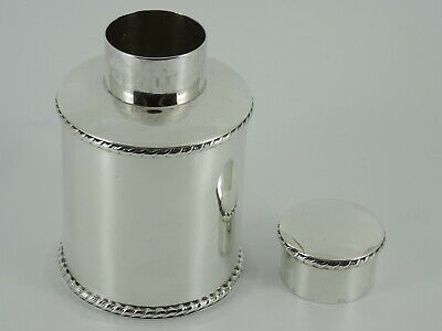 Superb Solid Sterling Silver Plain Tea Caddy Canister Box Sheffield 1900 142G