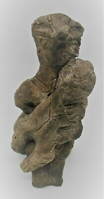 Scarce Circa 4500Bce Ancient Neolithic Ceramic Vinca Statue Seated Holding Child