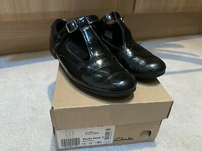Clarks Scala Seek Black Patent Girls Shoes Velcro Fastening Size Uk 3 G With Box