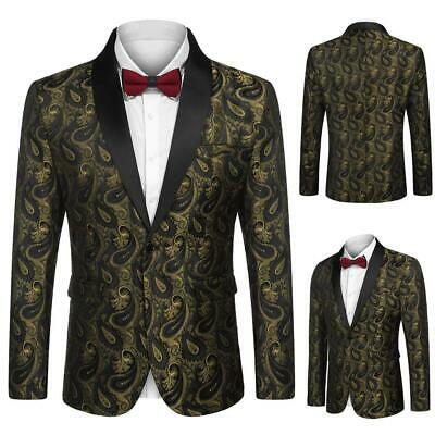 Men Fashion Turn Down Collar Long Sleeve Floral Pocket Blazer CLSV 01