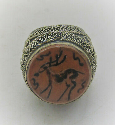Beautiful Late Medieval Ottomans Silvered Ring Very Large With Stones Inset