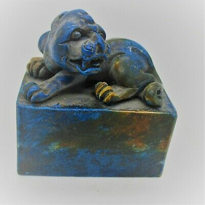 Ancient Chinese Glazed Blue Stone Seal Stamp With Beast On Top