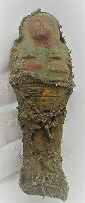 Beautiful Ancient Egyptian Faience Ushabti Shabti Covered In Coptic Cloth