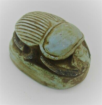 Circa 500 Bce Ancient Egyptian Glazed Faience Scaraboid Bead Seal W/Heiroglyphs