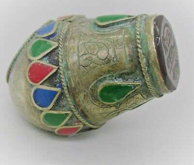 Beautiful Late Medieval Islamic Ottoman Silvered Seal Ring With Carnelian Stone
