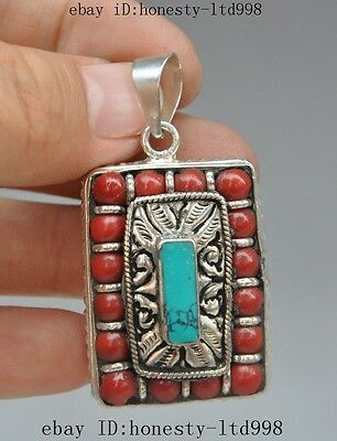 Collect chinese Exquisite tibet silver Inlay Red Coral Turquoise Pendant Jewelry