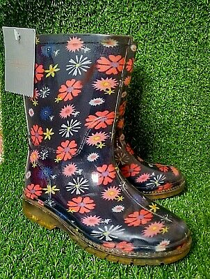 Girls Floral Blue Wellies Child Size 6 Bnwt