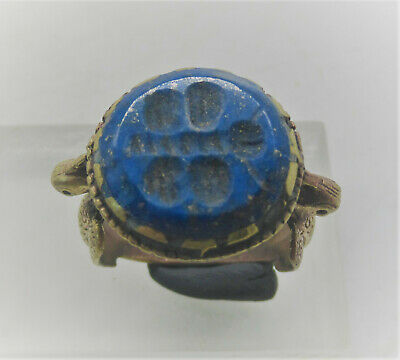 Beautiful Late Medieval Islamic Ottomans Silvered Seal Ring Agate Intaglio