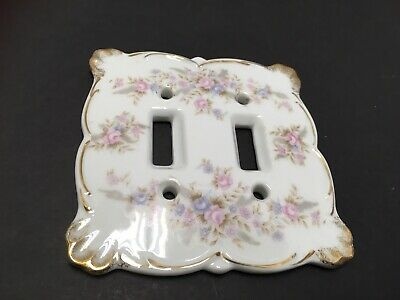 Vintage Lefton Double Light Switch Cover Soft Delicate Pink Lavender Roses