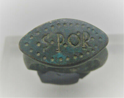 Ancient Roman Imperial Legionary Bronze Ring 'Spqr' Very Rare
