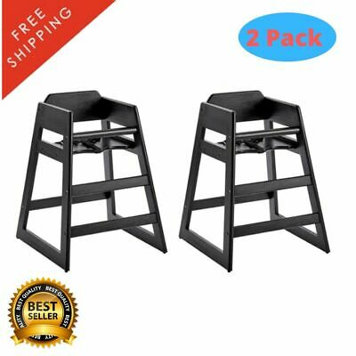 2 Pack Stackable Restaurant Wooden High Chair Seat Baby Toddler Black Finish