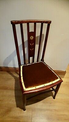 Antique Arts And Crafts Inlaid Floral Childs Chair, Bedroom Chair, Teddy Bear...