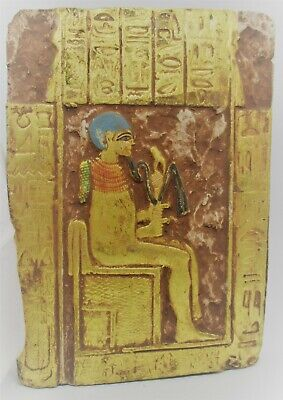 Ancient Egyptian Stone Carved Panel Gold Gilt And Heiroglyphs
