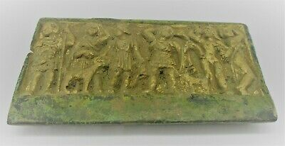 Circa 200-300Ad Ancient Roman Gold Gilded Bronze Plaque Depicting Warriors