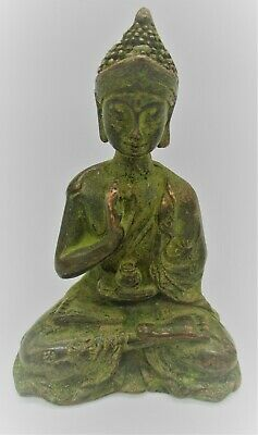 Circa 200 - 300 Ad Ancient Gandhara Bronze Seated Buddha Statuette