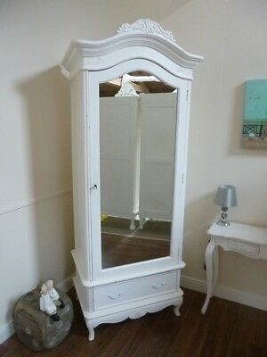 French Charroux Single Armoire Wardrobe In White - Mirrored Single Wardrobe