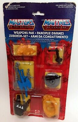 MASTERS OF THE UNIVERSE WEAPONS PACK ARMI COMBATTIMENTO MATTEL 1980s MOTU MOC