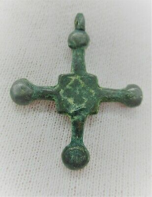 Beautiful Byzantine Crusaders Bronze Cross Amulet Wearable Artefact