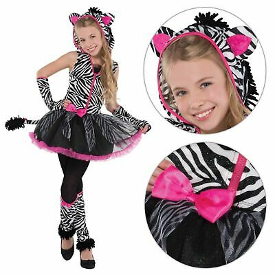 Girls Sassy Stripe Zebra Safari Jungle Animal Fancy Dress Costume Book Week Hood
