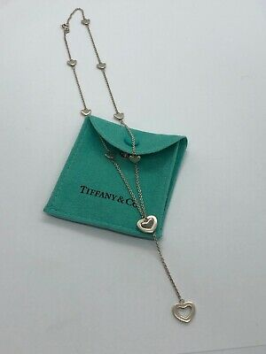 TIFFANY & CO Sterling Silver Heart Lariat Necklace W/ Pouch