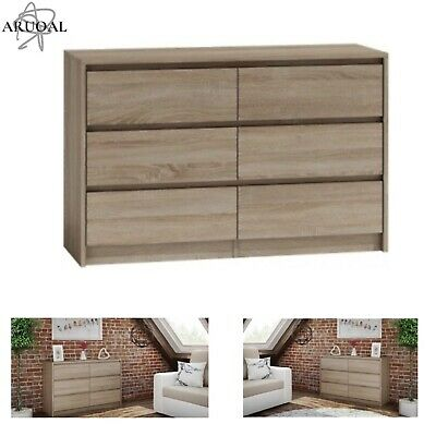 ARUOAL KARO Chest of 6 Draws White Stained Oak Effect Bedroom Drawers75x120x40cm