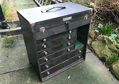 Vintage 6 Drawer Engineers Tool Chest - Lidded Top Compartment No Front Panel