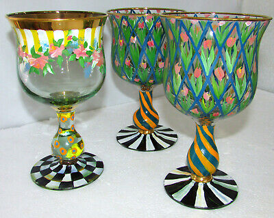 3 Mackenzie Childs Circus Tall Water Goblets Rose Stripped Awning & Tulip Arbor
