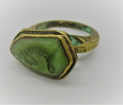 Post Medieval Islamic Ottomans Gold Gilded Seal Ring With Agate Horse Intaglio