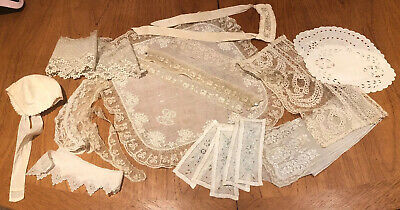 Vintage Collection of French Lace Lot Odds Whitework Embroidered Fine Work Old