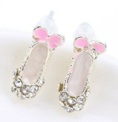Girls sparkly ballet shoes stud earrings in organza bag bnwt