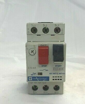 Telemecanique Manual Motor Starter GV2-M08   2.5-4amp  w// GV2-AN11 Aux Contact