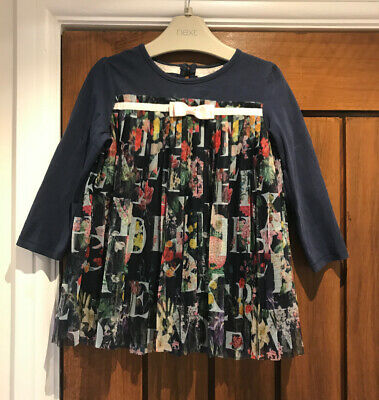 Ted Baker Girls' Top Navy Blue Long Sleeved Floral Pleated 2-3