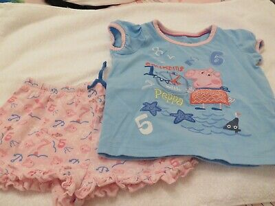 Girls Peppa Pig Pj,S Pink & Blue M&S Size 1 1/2 - 2 Years