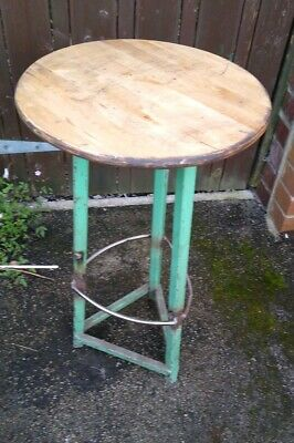 Vintage Industrial  Metal  and wooden Stool 71 x 39 cm