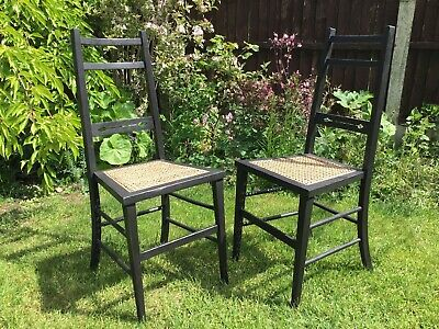 Antique Arts & Crafts/Aesthetic Movement Pair of Black Wood Chairs-Cane Seats