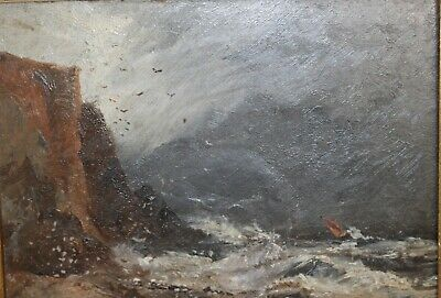 Early 19th century oil painting of a seascape