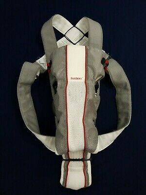 Baby Bjorn Baby Carrier Mesh One Air White Gray Red 0+ 8-25lbs Excellent Cond!!