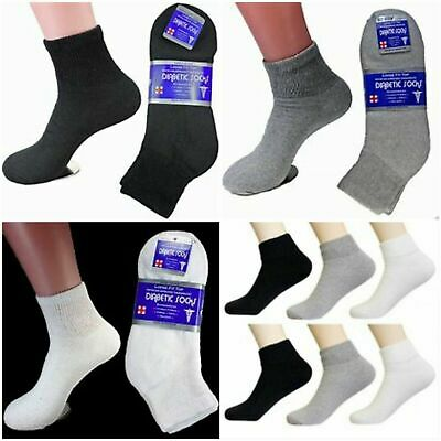 Lot 3-12 Pairs Diabetic Ankle Quarter Crew Socks Health Cotton Men Circulatory