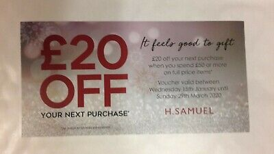 H Samuel Discount Coupon Voucher  £20 Off on £50 or more til Sunday 29 March 20