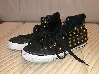 Converse Black Leather high tops with gold studs size men's 8 / women's 10