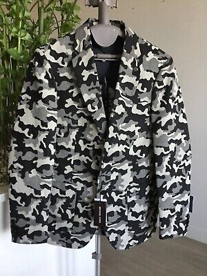 NWT $248 MICHAEL KORS Black Gray White Camo Cotton Blend Sport Coat Blazer 38R