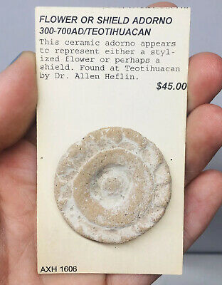 Teotihuacan Pre-Columbian Flower / Shield Adorno Terracotta Pottery Artifact