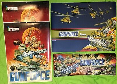 Original Gunforce Arcade marquee,(2) Side Art and control panel art
