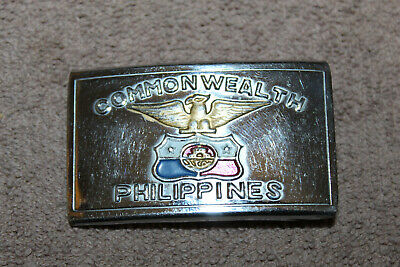"Original Early WW2 U.S. Army GI's ""Commonwealth Philippines"" Metal Belt Buckle"